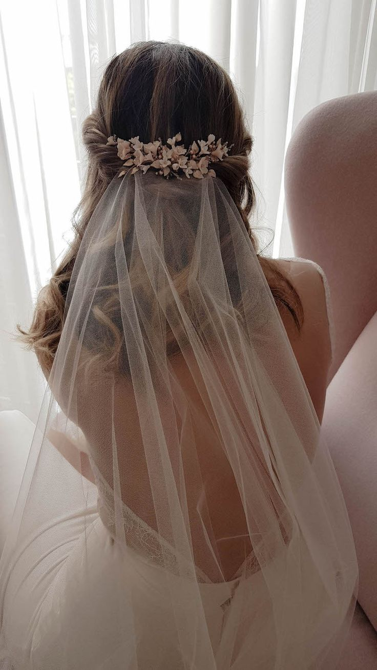 DAYDREAMER | blush wedding headpiece | Blush wedding headpiece, Wedding hair down, Wedding hairstyles with veil