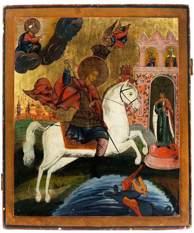Mittelgroße Ikone mit zentraler Darstellung des Heiligen Georg. In einer Landschaft der Heilige Georg auf seinem weißen Ross reitend, eine goldene Rüstung ...