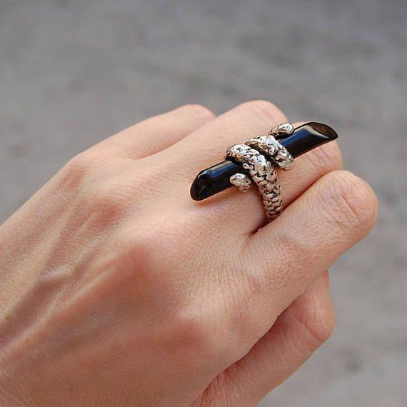 Stunning black coral ring Snake ring Kreitto jewels
