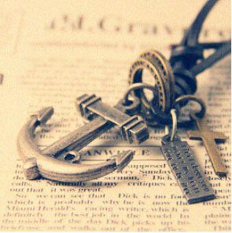 Ожерелья и кулоны ожерелье прохладный рок панк крест якорь винтаж кожаный шнур ожерелье любители длинное ожерелье