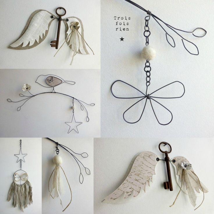 créations fil de fer, fil de fer, trois fois rien, oiseaux fil de fer, ange clé, dreamcatcher (1)