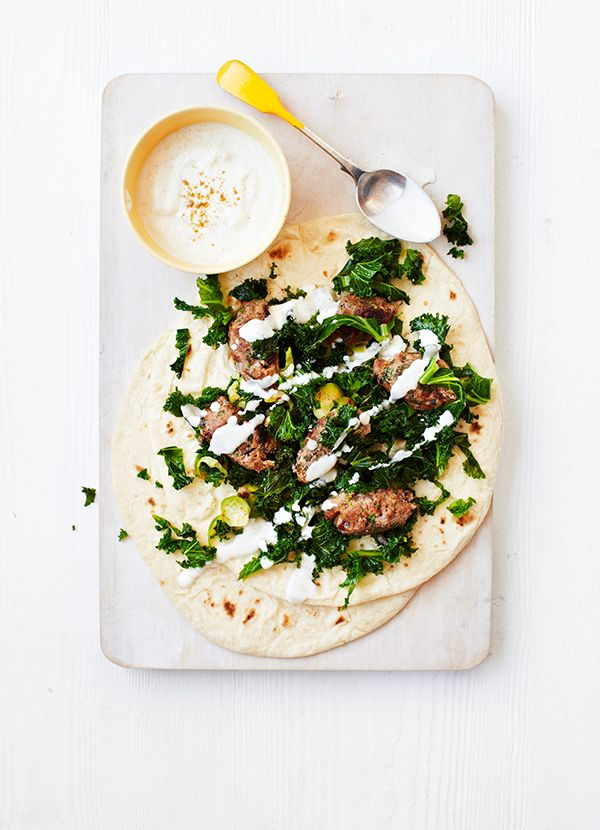 Lamb koftas with kale salad: So easy to put together, lamb koftas make the best weeknight supper. Here we're serving them with a super healthy Brussels sprouts and kale winter salad for a delicious low-carb dinner.