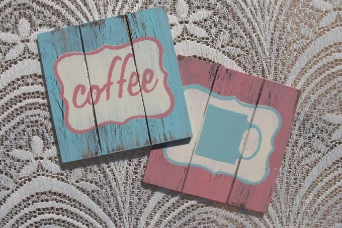 Distressed Wood Coasters by Mossie