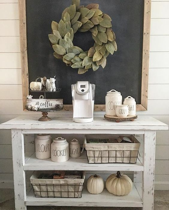 Rae Dunn coffee canisters add a perfect touch to this country farmhouse style coffee station!
