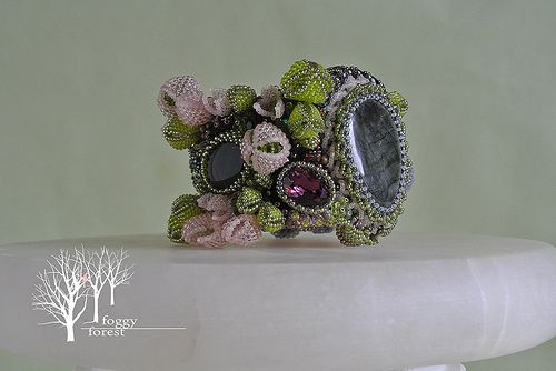 A Midsummer Night's Dream bracelet bead embroidery Czech beads, Japanese beads, labradorite, natural leather, citrine, zircon,swarovski crystals