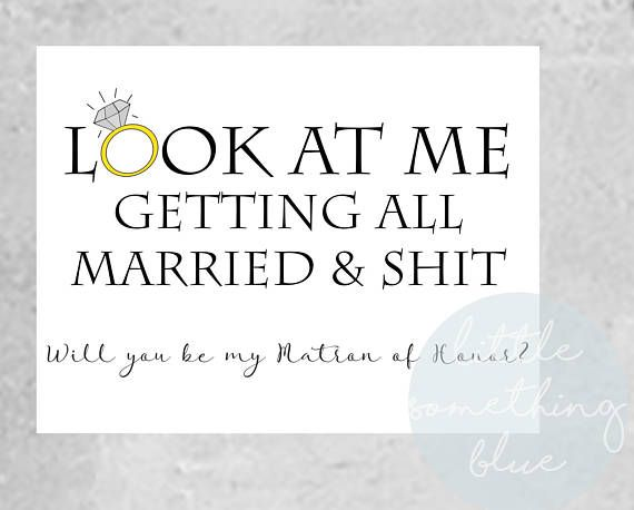 Funny Matron of Honor Proposal Card Template // Adult Humor //