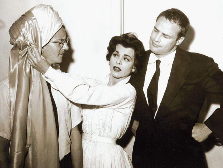Marlon Brando with Singer Eileen Barton and Wally Cox in Las Vegas 1953. #Brando #Wally #Cox