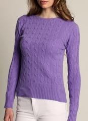 Women's Cable O-neck Lavender  100 % Cashmere  www.softgoat.com