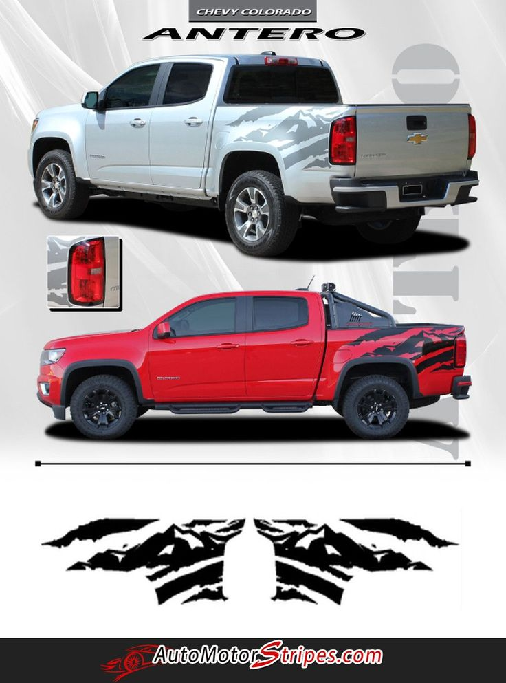 2015 2016 2017 Chevy Colorado ANTERO Rear Side Truck Bed Mountain Scene Accent Vinyl Graphics 3M Stripes Kit
