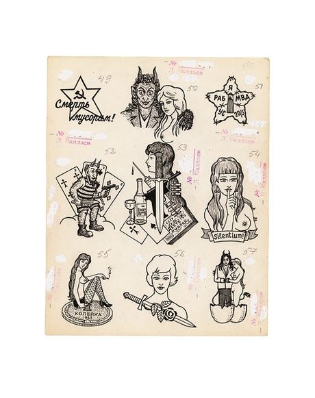 Various thieves tattoos. Top left: 'Death to Garbage!' Top right: 'I am a slave of the MVD. US 20/5' Middle centre: A tattoo known as 'This is what is destroying us'. Bottom left: A widespread thieves' tattoo called 'The Cheap Whore'. Bottom right: This image of the Devil and a woman can either mean that a woman pushed the bearer to commit a crime, or that both the Devil and woman are hatched from the same egg.