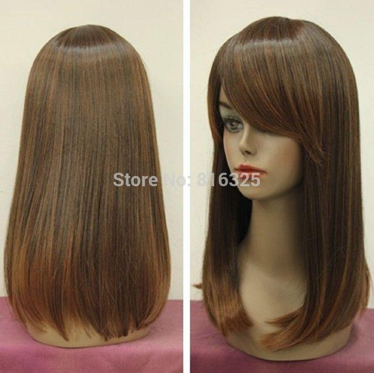 БЕСПЛАТНО P & P>>>>> очаровательная длинные каштановые моде волосы парики для женщин