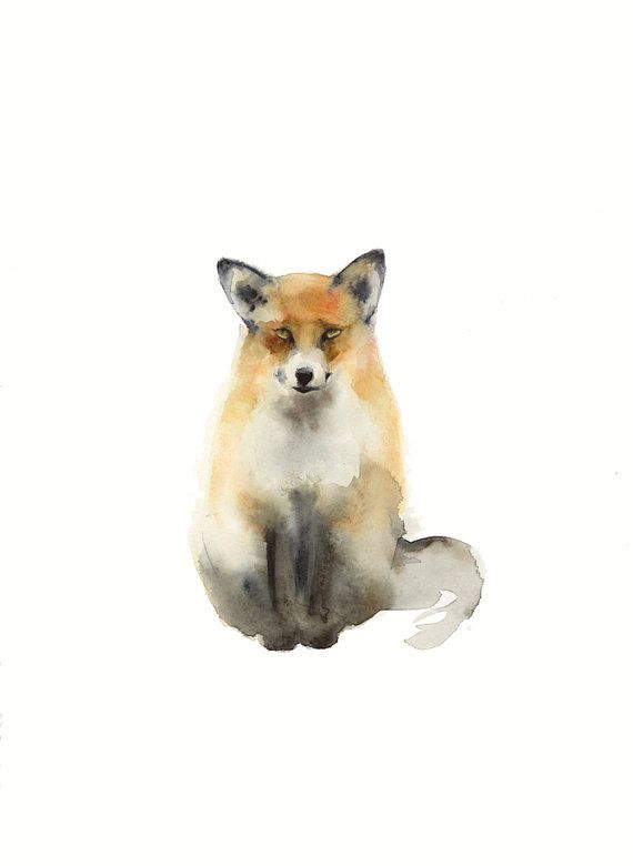 Fox  Print of my Original Watercolor Painting  The original has been sold.        11 x 17 paper  Portrait orientation    Archival print printed