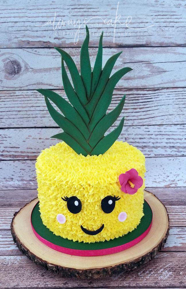 Pleasant Hawaiian Pineapple Themed Cake With Images Pineapple Birthday Personalised Birthday Cards Akebfashionlily Jamesorg