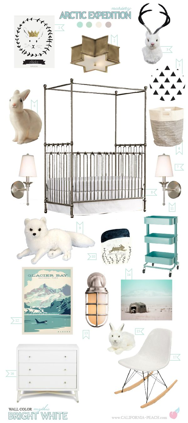 California Peach: Arctic Expedition | Nursery -- Aqua, Arctic, Black, blue, Bunny, decor, Expedition, faux, Fox, glacier bay, iron, lamp, Mid Century, Nursery, Poster, Rabbit, star, taxidermy, jackalope, sconce, triangle, white, Nursery, Neutral, Gender Neutral, Boy, Girl, Maretime, Iron, Canopy, Crib, RHbaby, Restoration Hardware, Hare, Ikea, Baby, Room, Nursery, Baby Room, Mythic Paint, Non-Toxic, Green 0VOC, Eco Friendly, Organic, Style Board