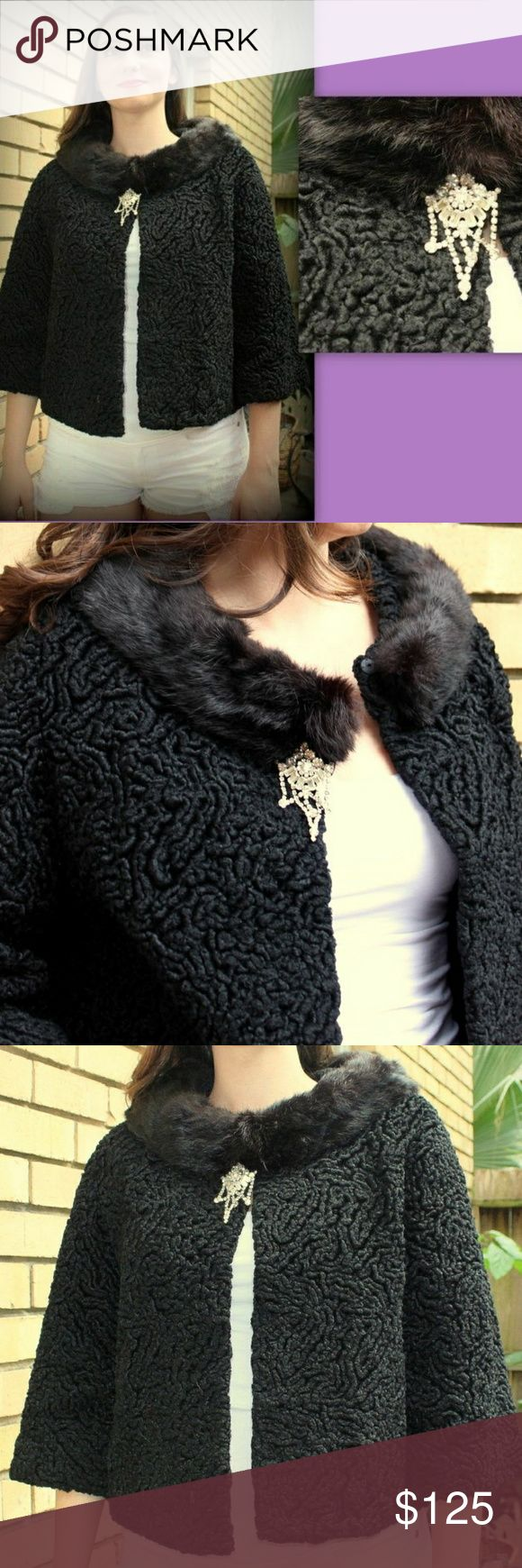 "Vintage MOD Persian Lamb Wool Jacket/Coat MINK FUR ****THIS PRICE IS FIRM UNLESS BUNDLED ******  Vintage 60s Mod PERSIAN CURLY LAMBS WOOL crop Jacket w/BLACK MINK FUR collar.....(Collar is NOT removable; attached)....STUNNING estate piece in EXCELLENT condition; Came with the HUGE White Rhinestone brooch in front that actually dates to the 1950's. BROOCH IS REMOVABLE AND GORGEOUS!  Jacket fits a modern size Small/Medium or 4 - 8 with its open silhouette; Approx 22"" long, 40/42"" at bust, 40""…"