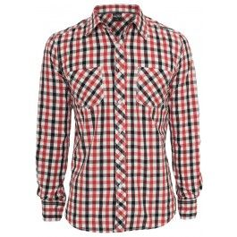 URBAN CLASSICS RED TRICOLOR BIG CHECKED SHIRT - Shirts - Menswear
