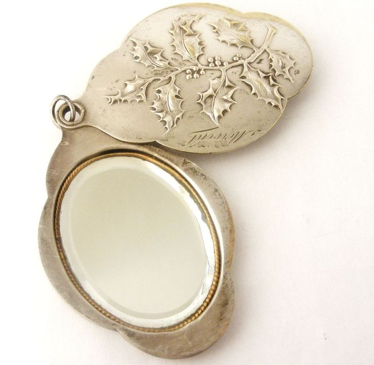 Antique French art nouveau holly slide mirror locket