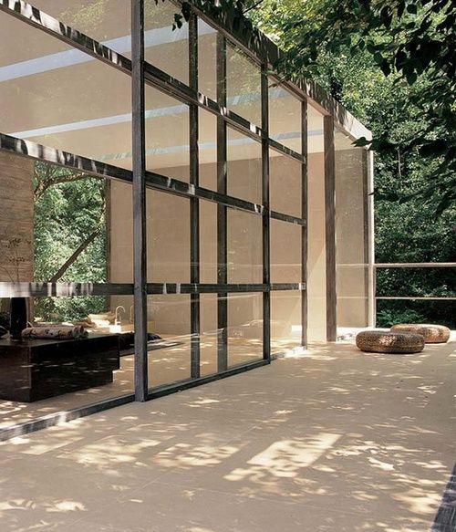 Massive sliding glass wall
