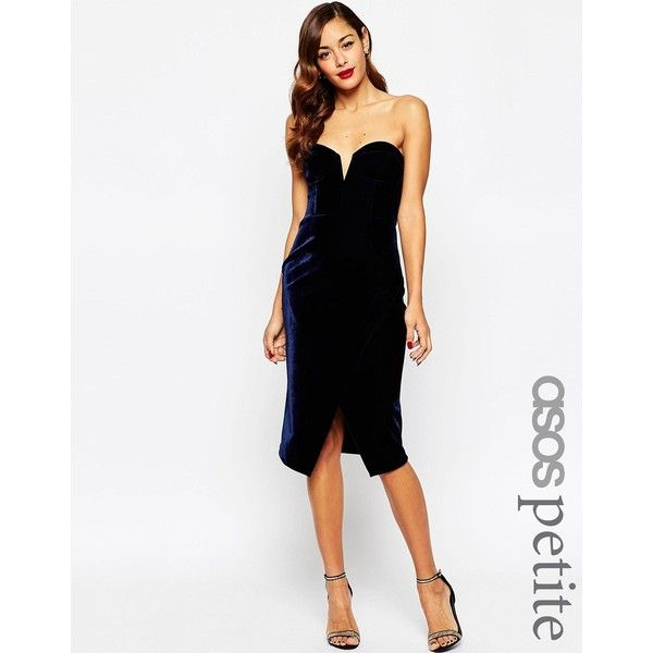 ASOS PETITE RED CARPET Super Deep Plunge Velvet Midi Pencil Dress ($88) ❤ liked on Polyvore featuring dresses, navy, petite, white dress, petite dresses, midi dress, petite cocktail dress and petite white dresses