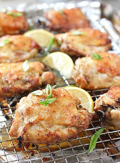 Oven Baked Chicken Thighs!  A family favorite!  Perfectly Paleo and Whole30 as a bonus!