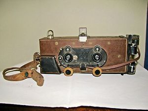 "1934 Antique Wooden Stereo Camera Built BY E Baireuther MFG OF ""Contura"" Camera 