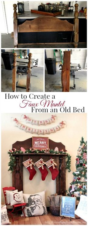 How to create a DIY Faux Fireplace Mantel using pieces from an old bed