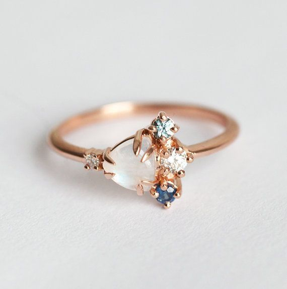 Moonstone Cluster Ring Birthstone Ring Birthstone by MinimalVS