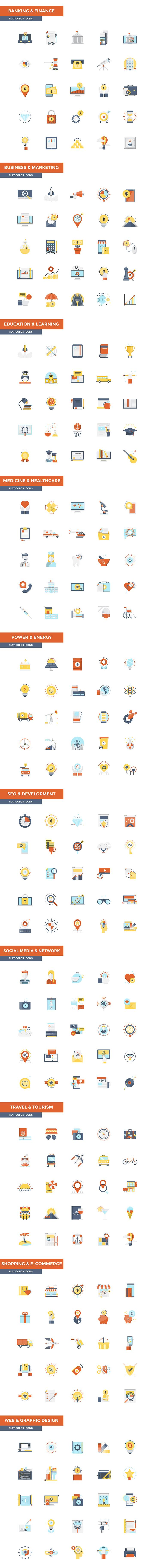 Set of modern Color Flat Design icons.Creative concepts and design elements for mobile and web applications. VectorCollection covers following themes :1. Banking and Finance2. Marketing and Business3. Seo and Development4. Education and Learning5.…