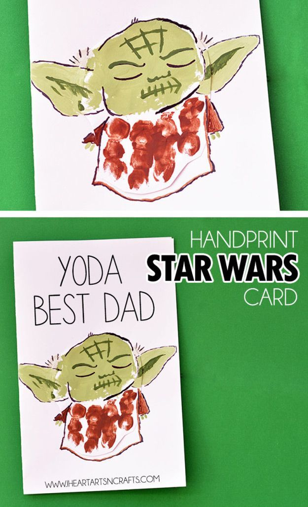 Cool DIY Father's Day Card Ideas | Easy Hand Print Star Wars Card by DIY Ready at http://diyready.com/21-diy-fathers-day-cards/