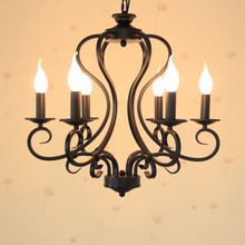 Black/white wrought iron chandelier light fixture 6pcs/8pcs e14 led bulb lamps America country Mediterranean Sea style(China (Mainland))
