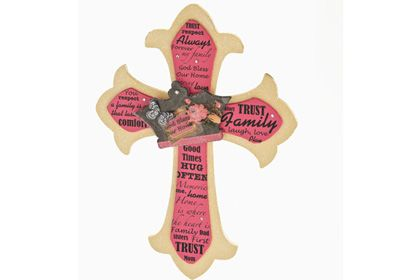 Classic Crown Family Cross -- DIY  -- Bless your home with loving sentiments on a beautiful decoupaged cross.
