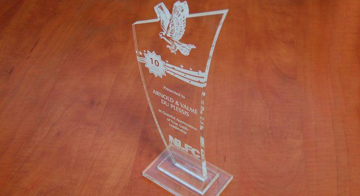 Laser Engraved Perspex Trophy Award
