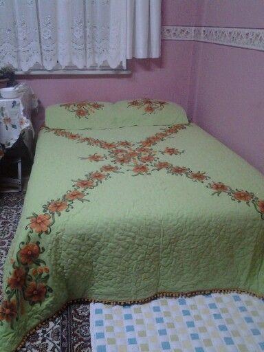 Keçe yünü ile yatak örtüsü yaptım