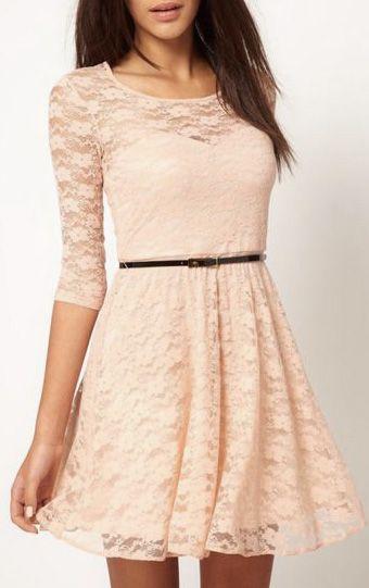 Elegant Beige Round Neck Half Sleeve A Line Dress