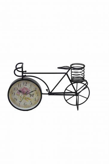 Ferforje Metal Dekoratif Bisiklet Masa Saati