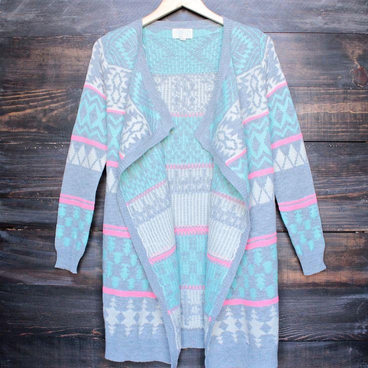 bright aztec / tribal print drape open front cardigan