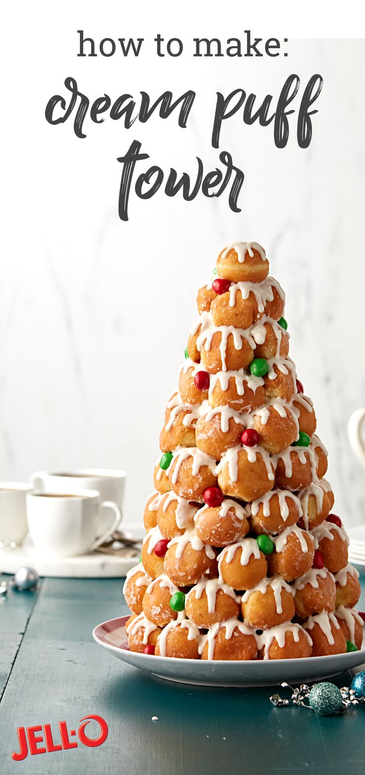 Easy Cream Puff Tower – Make a tasty dessert statement with ease with this amazing recipe for a cream puff tower. And would you believe that this stunning treat takes only 45 minutes to prep—how could you not serve this dessert at your annual holiday party?!