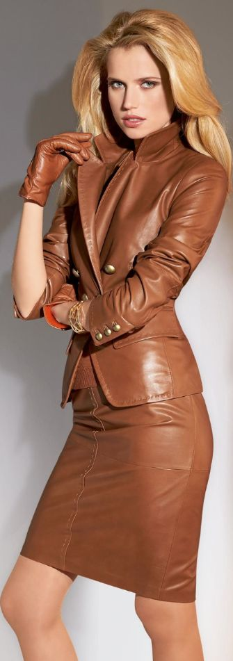Brown leather skirt suit  =