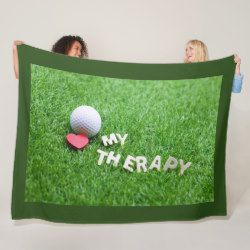 Golf is my therapy with golf ball and red heart fleece blanket | Zazzle.com