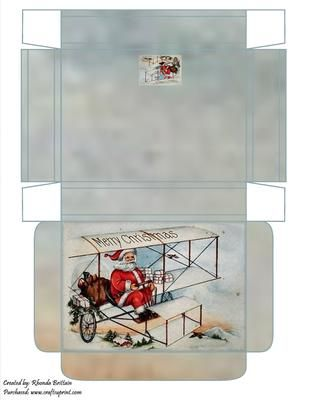 Flying Santa Gift Box on Craftsuprint designed by Rhonda Brittain - This christmas gift box with santa in his flying machine. - Now available for download!