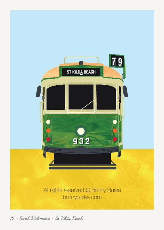 St Kilda Beach Richmond Melbourne Australia Tram 8 by BrionyBurke, $30.00
