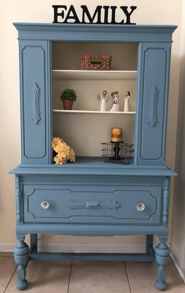 Cabinet in Stillwater Blue & Antique White | DIY Furniture | Pinterest |  Furniture, Antique hutch and Painted Furniture - Cabinet In Stillwater Blue & Antique White DIY Furniture