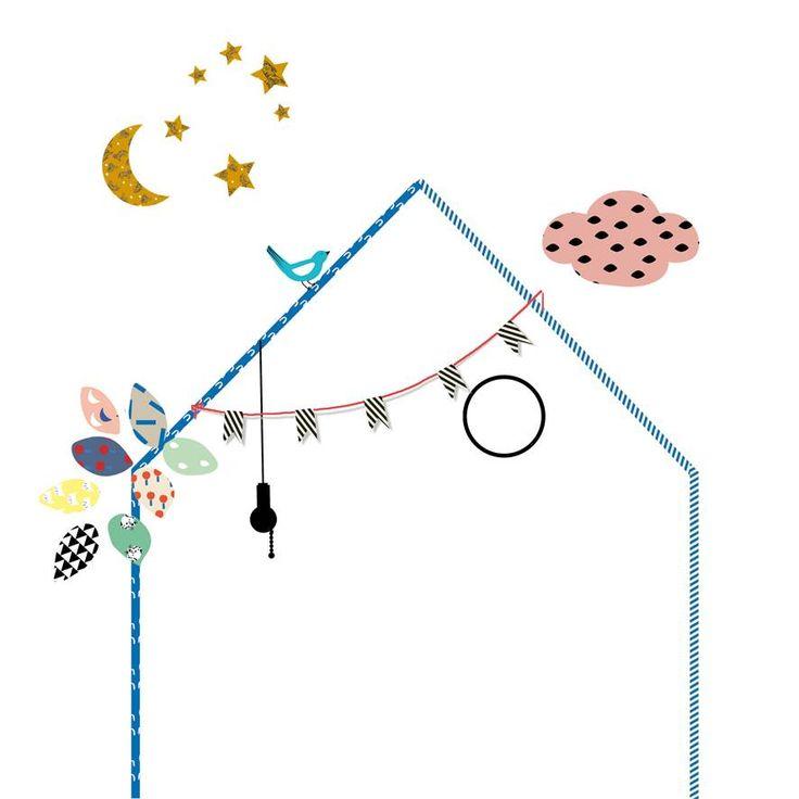 Hippe muursticker in de vorm van een huisje met leuke details van het originele Franse merk Mimilou