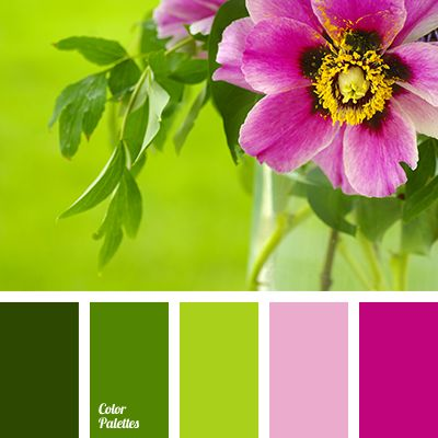 Fresh, soft and touching composition like an awakening of the fist spring leaves. Smooth transitions of green in combination with pink and fuchsia – harmon.
