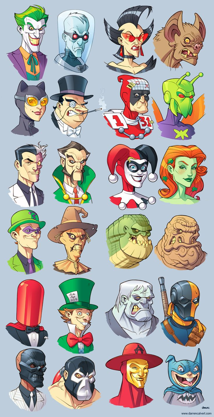 Terrible Twenty-Four by *D-MAC on deviantART Top Row: The Joker, Mr. Freeze, Magpie, Man-Bat 2nd Row: Catwoman, Penguin, Calendar Man, Killer Moth 3rd Row: Two-Face, Ra's al Ghul, Harley Quinn, Poison Ivy 4th Row: The Riddler, Scarecrow, Killer Croc, Clayface 5th Row: Red Hood, The Mad Hatter, Solomon Grundy, Deathstroke 6th Row: Black Mask, Bane, Anarky, Bat-Mite