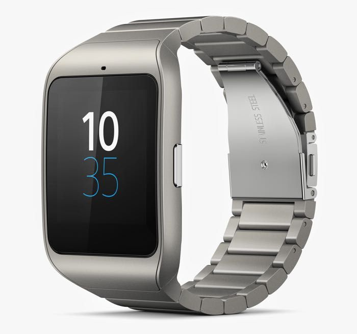 Stainless Steel Sony SmartWatch 3 Announced - The stainless steel Sony SmartWatch 3 comes with a 1.6 inch display that has a resolution of 320 x 320 pixels, and the devices is powered by a quad core 1.2GHz processor. Other specifications of the device include 512MB of RAM and 4GB of included storage, there is also a 420 mAh battery, and the device comes with Android Wear and an IP68 certification. | Geeky Gadgets