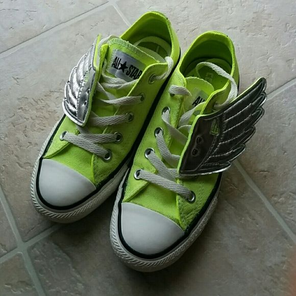 Neon Converse Neon Converse.  Only wore few times. Wings are not included. Converse Shoes Sneakers