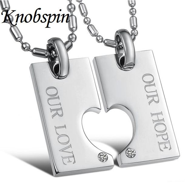 His and Her Promise Jewelry Stainless Steel Matching Puzzle Love Heart Couple necklaces & pendants with AAA CZ jewelry Gift