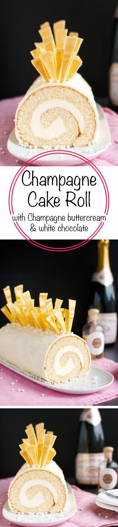 Champagne Cake Roll - A Champagne flavored cake roll, filled with Champagne buttercream, coated in white chocolate ganache, and topped with amazing white chocolate shards. With step-by-step photos. Impress your guests!   thetoughcookie.com