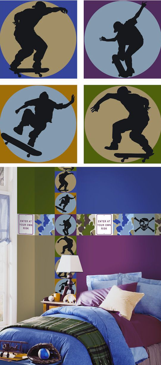 Skateboard Shadow Kidifexs Wall Stickers - Wall Sticker Outlet